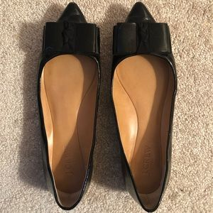 J. Crew Black Patent Ballet Flat with Bow detail